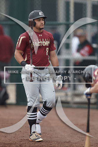 Mykanthony Valdez (8) of Mater Academy Charter High School in Miami Lakes, Florida during the Under Armour All-American Pre-Season Tournament presented by Baseball Factory on January 15, 2017 at Sloan Park in Mesa, Arizona.  (Kevin C. Cox/Mike Janes Photography)
