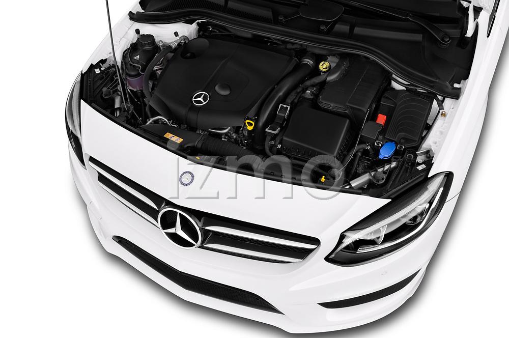 Car stock 2018 Mercedes Benz B Class Base 5 Door Hatchback engine high angle detail view