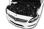 Car stock 2018 Mercedes Benz B Class Base 5 Door Hatchback engine high angle detail view