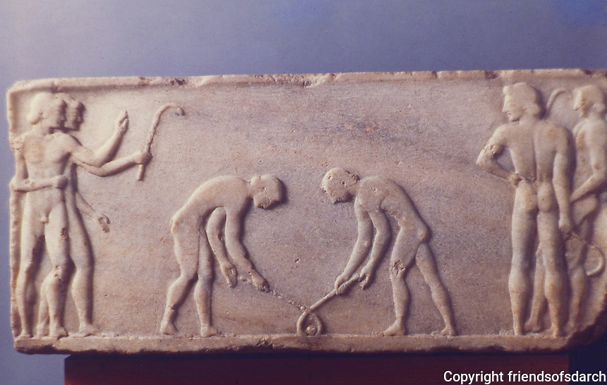 Greek Art:  Square Relief Base for a Statue, end of 6th century B.C.  Greek Ministry of Culture, Athens.