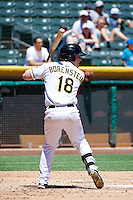 Zach Borenstein (18) of the Salt Lake Bees at bat against the Nashville Sounds in Pacific Coast League action at Smith's Ballpark on June 22, 2014 in Salt Lake City, Utah.  (Stephen Smith/Four Seam Images)