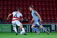 Lincoln City's Callum Connolly under pressure from Doncaster Rovers' Ben Sheaf<br /> <br /> Photographer Andrew Vaughan/CameraSport<br /> <br /> EFL Leasing.com Trophy - Northern Section - Group H - Doncaster Rovers v Lincoln City - Tuesday 3rd September 2019 - Keepmoat Stadium - Doncaster<br />  <br /> World Copyright © 2018 CameraSport. All rights reserved. 43 Linden Ave. Countesthorpe. Leicester. England. LE8 5PG - Tel: +44 (0) 116 277 4147 - admin@camerasport.com - www.camerasport.com