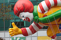 NEW YORK - NOVEMBER 25:  The Ronald McDonald helium filled balloon floats overhead during the annual Macy's Thanksgiving Day Parade  on Thursday, November 25, 2010.