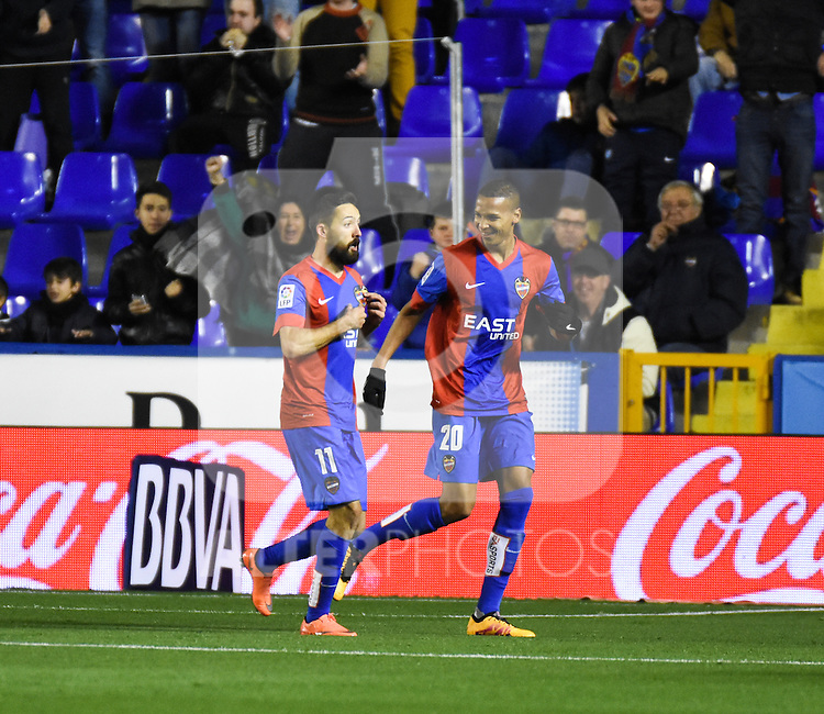 Levante's    Morales and Deyverson celebrating a goal    during La Liga match. February 19, 2016. (ALTERPHOTOS/Javier Comos)