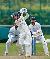 23rd September 2021; Aigburth, Liverpool, Merseyside, England; LV=Country Cricket Championship; Lancashire versus Hampshire; Lancashire batsman Alex Davies hoists a huge six out onto the bowling green at the Aigburth CRicket Ground before being dismissed short of his half century after lunch