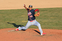 Peoria Chiefs pitcher Fernando Baez (46) delivers a pitch during a game against the Wisconsin Timber Rattlers on April 12th, 2015 at Fox Cities Stadium in Appleton, Wisconsin.  Peoria defeated Wisconsin 11-1.  (Brad Krause/Four Seam Images)