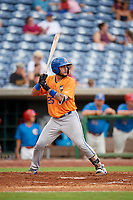 St. Lucie Mets catcher Ali Sanchez (25) at bat during a game against the Clearwater Threshers on August 11, 2018 at Spectrum Field in Clearwater, Florida.  St. Lucie defeated Clearwater 11-0.  (Mike Janes/Four Seam Images)