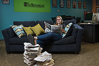Samantha Davenport, Executive Editor of The Northern Light (TNL), UAA's student newspaper, photographed in the TNL office in the Student Union.