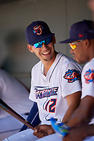 Jacksonville Jumbo Shrimp Robert Dugger (12) during a Southern League game against the Tennessee Smokies on April 29, 2019 at Baseball Grounds of Jacksonville in Jacksonville, Florida.  Tennessee defeated Jacksonville 4-1.  (Mike Janes/Four Seam Images)