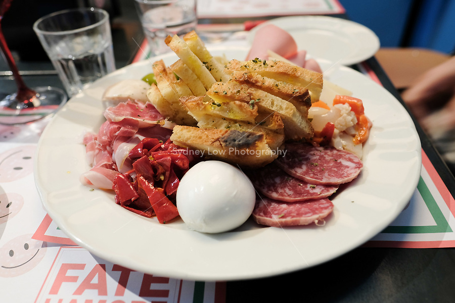Modena, 21 February 2017 – The Antipasto at Da Panino in Modena. Da Panino is a wine and sandwich bar set up by the sommelier from Osteria Francescana Guiseppe (Beppe) Palmieri. Photo Sydney Low