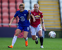 6th September 2020; Leigh Sports Village, Lancashire, England; Women's English Super League, Manchester United Women versus Chelsea Women; Maren Mjelde of Chelsea Women and Leah Galton of Manchester United Women chase a lose ball