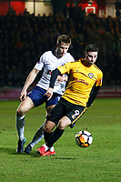 Padraig Amond of Newport County is marked by Eric Dier of Tottenham Hotspur during the Fly Emirates FA Cup Fourth Round match between Newport County and Tottenham Hotspur at Rodney Parade, Newport, Wales, UK. Saturday 27 January 2018