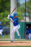 Dunedin Blue Jays catcher Riley Adams (21) during a Florida State League game against the Clearwater Threshers on April 7, 2019 at Jack Russell Memorial Stadium in Clearwater, Florida.  Dunedin defeated Clearwater 2-1.  (Mike Janes/Four Seam Images)
