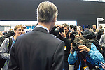 © Joel Goodman - 07973 332324 . 02/10/2017. Manchester, UK. JACOB REES-MOGG surrounded by media at the conference . The second day of the Conservative Party Conference at the Manchester Central Convention Centre . Photo credit : Joel Goodman