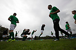 Guernsey 0 Corinthian-Casuals 1, 10/09/2017. Footes Lane, Isthmian League Division One. Home players warming-up as Guernsey take on Corinthian-Casuals in a Isthmian League Division One South match at Footes Lane. Formed in 2011, Guernsey FC are a community club located in St. Peter Port on the island of Guernsey and were promoted to the Isthmian League Division One South in 2013. The visitors from Kingston upon Thames won the fixture by 1-0, watched by a crowd of 614 spectators. Photo by Colin McPherson.