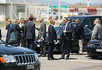 Pictured: Heavy security and police at the Eleftherios Venizelos Airport in Athens, Greece. Wednesday 09 May 2018 <br /> Re: Official visit of HRH Prnce Charles and his wife the Duchess of Cornwall to Athens, Greece.