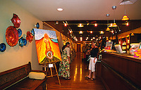 Lobby with local artwork at the Mauna Lani Spa, Big Island of Hawaii