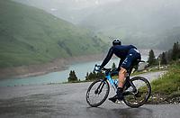 Imanol Erviti (ESP/Movistar) descending the Col du Pré (HC/1748m) towards the Barrage de Roselend in, yet again, grim conditions.<br /> <br /> Stage 9 from Cluses to Tignes (145km)<br /> 108th Tour de France 2021 (2.UWT)<br /> <br /> ©kramon