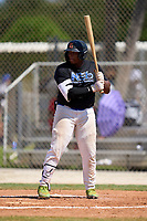Elijah Dukes (27) during the WWBA World Championship at Roger Dean Stadium Complex on October 10, 2021 in Jupiter, Florida.  Elijah Dukes (27) is from Tampa, Florida, attends Wharton High School, and is committed to San Jacinto CC.  (Mike Janes/Four Seam Images)