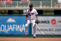 Minnesota Twins second baseman Tzu-Wei Lin (37) during a Major League Spring Training game against the Pittsburgh Pirates on March 16, 2021 at Hammond Stadium in Fort Myers, Florida.  (Mike Janes/Four Seam Images)