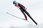 Helena Olsson Smeby of Norway jumps during the Women's Normal Hill Individual training session of the 2014 Sochi Olympic Winter Games at Russki Gorki Ski Juming Center on February 9, 2014 in Sochi, Russia. Photo by Victor Fraile / Power Sport Images