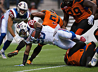 Vancouver, September, 09, 2016 - Alouette running back Tyrell Sutton carries the ball during the game. The Montreal Alouettes lost to the BC Lions 27-38. (Andrew Soong)