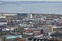 General view of the city centre, and the SA1 development in the docks area of Swansea, Wales, UK. Wednesday 30 January 2019