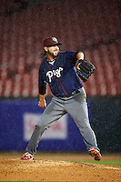 Lehigh Valley IronPigs relief pitcher Michael Mariot (31) delivers a pitch in the pouring rain during a game against the Buffalo Bisons on July 9, 2016 at Coca-Cola Field in Buffalo, New York.  Lehigh Valley defeated Buffalo 9-1 in a rain shortened game.  (Mike Janes/Four Seam Images)