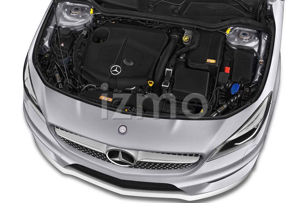 Car stock 2015 Mercedes Benz CLA Class 220 AMG line 5 Door Wagon engine high angle detail view