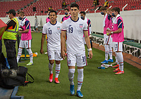 , MEXICO - : Sebastian Soto #19 and Sebastian Saucedo #10 of the U-23 USMNT walking out during a game between  and undefined at  on ,  in , Mexico.