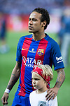 Neymar Santos Jr of FC Barcelona and his soon during the match of  Copa del Rey (King's Cup) Final between Deportivo Alaves and FC Barcelona at Vicente Calderon Stadium in Madrid, May 27, 2017. Spain.. (ALTERPHOTOS/Rodrigo Jimenez)
