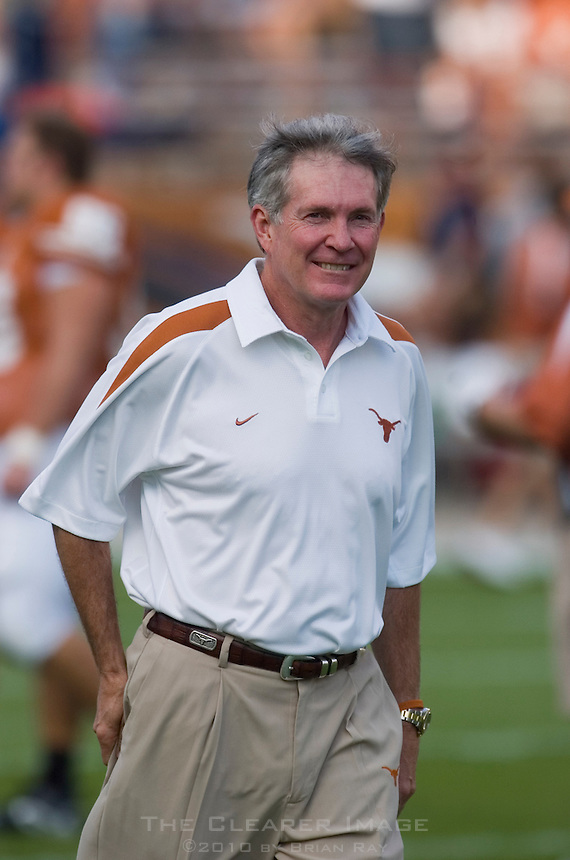 09 September 2006: Texas head coach Mack Brown watches his players warm up prior to the Longhorns 24-7 loss to the Ohio State Buckeyes at Darrell K Royal Memorial Stadium in Austin, TX.
