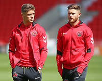 Fleetwood Town's Kyle Dempsey (left) & Wes Burns inspect their surrounding before kick off<br /> <br /> Photographer David Shipman/CameraSport<br /> <br /> The EFL Sky Bet League One - Doncaster Rovers v Fleetwood Town - Saturday 17th August 2019  - Keepmoat Stadium - Doncaster<br /> <br /> World Copyright © 2019 CameraSport. All rights reserved. 43 Linden Ave. Countesthorpe. Leicester. England. LE8 5PG - Tel: +44 (0) 116 277 4147 - admin@camerasport.com - www.camerasport.com
