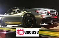 BNPS.co.uk (01202 558833)<br /> Pic DorsetPolice/BNPS<br /> <br /> A £60,000 sports car has been seized by police because the windows were so heavily tinted the driver could not see where he was going.<br /> <br /> Officers pulled the Mercedes C63S over after it was spotted driving 'very slowly' on a 40mph road.<br /> <br /> Tests of the car's windows revealed a light transmission level of just eight per cent - the legal limit is 75 per cent for a windscreen and 70 per cent for the front side windows.<br /> <br /> The driver was reported for dangerous driving and driving without insurance and the vehicle was seized and banned from the roads until the defects have been corrected.