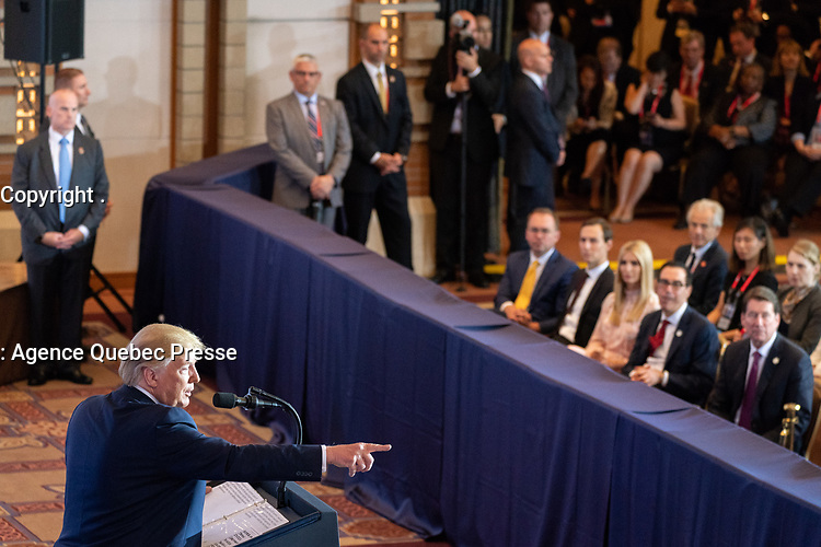 President Donald J. Trump participates in a press conference Saturday, June 29, 2019, at the Imperial Hotel Osaka after attending the G20 Japan Summit in Osaka, Japan. (Official White House Photo by Shealah Craighead)