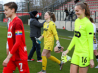 goalkeeper Ambre Collet (1) of Sporting Charleroi is walking onto the pitch before a female soccer game between Standard Femina de Liege and Sporting Charleroi on the 16th matchday of the 2020 - 2021 season of Belgian Scooore Womens Super League , saturday 13 th of February 2021  in Angleur , Belgium . PHOTO SPORTPIX.BE | SPP | SEVIL OKTEM