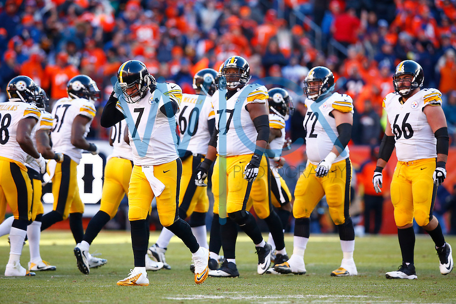 Ben Roethlisberger #7 of the Pittsburgh Steelers walks off of the field following a failed drive against the Denver Broncos during the AFC Divisional Round Playoff game at Sports Authority Field at Mile High on January 17, 2016 in Denver, Colorado. (Photo by Jared Wickerham/DKPittsburghSports)