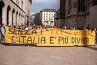 """Milano, manifestazione del 25 aprile, anniversario della Liberazione dell'Italia dal nazifascismo. Protesta dei lavoratori dei Treni Notte --- Milan, manifestation of April 25, the anniversary of the Liberation of Italy from nazi-fascism. Protest of the """"Night Train"""" workers"""