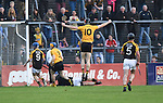 Darach Honan of Clonlara celebrates a goal against Ballyea during their senior county final replay at Cusack Park. Photograph by John Kelly.