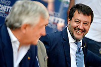 The leader of Lega right party Matteo Salvini smiles as he attends an electoral campaign press conference for the mayoral election in Spinaceto, a peripheral neighborhood in the west of Rome on October 1st 2021. Photo Andrea Staccioli Insidefoto