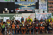 Altamira, Brazil. Encontro Xingu protest meeting about the proposed Belo Monte hydroeletric dam and other dams on the Xingu river and its tributaries. Kayapo chiefs, warriors, women and children.