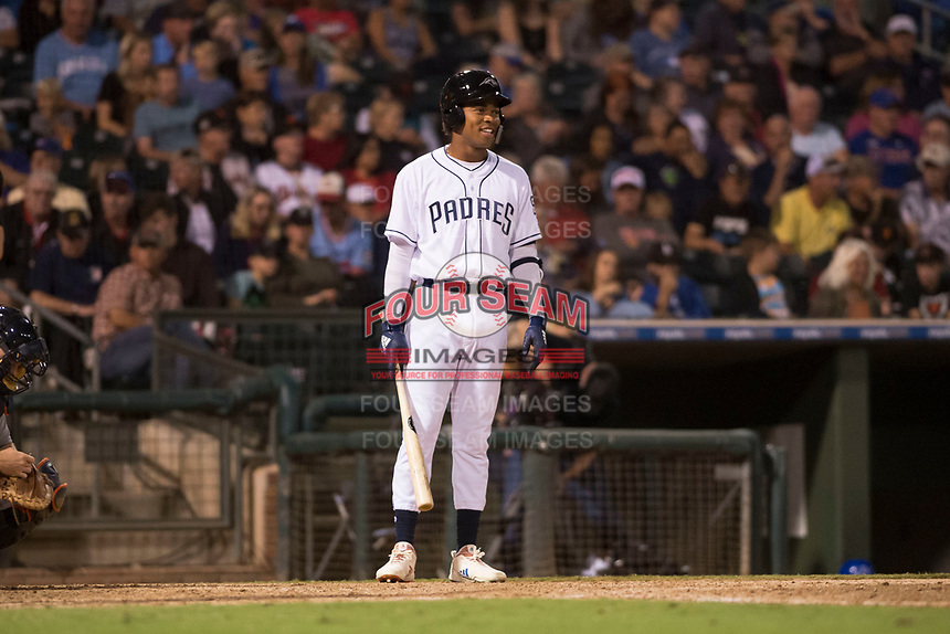 AFL West left fielder Buddy Reed (85), of the Peoria Javelinas and San Diego Padres organization, at bat during the Fall Stars game at Surprise Stadium on November 3, 2018 in Surprise, Arizona. The AFL West defeated the AFL East 7-6 . (Zachary Lucy/Four Seam Images)