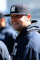 February 24, 2010:  Pitcher Joba Chamberlain of the New York Yankees during practice at Legends Field in Tampa, FL.  Photo By Mike Janes/Four Seam Images