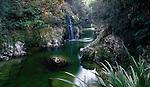 waterfall in Deepdale Creek near Murchison in the Tasman Region. New Zealand.