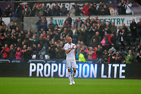 Swansea City's Mike van der Hoorn applauds the fans at the final whistle during the Sky Bet Championship match between Swansea City and Preston North End at the Liberty Stadium, Swansea, Wales, UK. Saturday 11 August 11 2018
