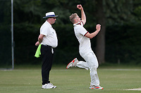 Harry Phillips in bowling action for Brentwood during Brentwood CC vs Harold Wood CC, Hamro Foundation Essex League Cricket at The Old County Ground on 12th June 2021