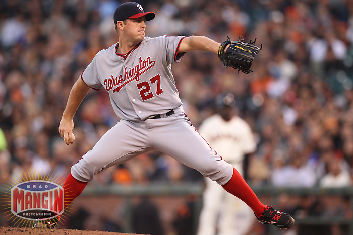 SAN FRANCISCO, CA - AUGUST 14:  Jordan Zimmermann #27 of the Washington Nationals pitches against the San Francisco Giants during the game at AT&T Park on Tuesday, August 14, 2012 in San Francisco, California. Photo by Brad Mangin