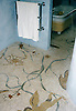Custom Roman African shower in hand chopped marble mosaic tesserae