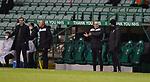 27.01.2021 Hibs v Rangers: Hibs bench argue with officials