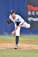 Asheville Tourists starting pitcher Ryan Rolison (18) delivers a pitch during a game against the Augusta GreenJackets at McCormick Field on April 5, 2019 in Asheville, North Carolina. The  Tourists defeated the GreenJackets 5-0. (Tony Farlow/Four Seam Images)
